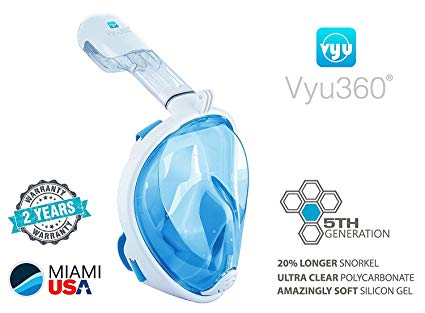 Vyu360 Snorkel Full Face Mask with Camera Mount Extra Long Snorkel 5th Generation