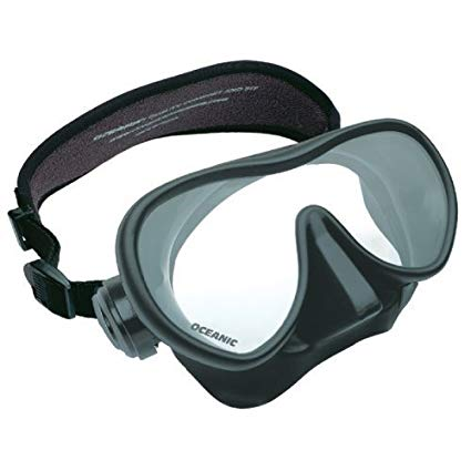 New Oceanic Shadow Scuba Diving & Snorkeling Mask (Black on Black) with FREE Neoprene Comfort Strap ($12.95 Value)