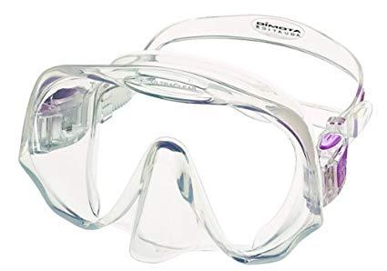 Atomic Aquatics Scuba Diving Frameless Mask, Clear/Purple, Medium Fit