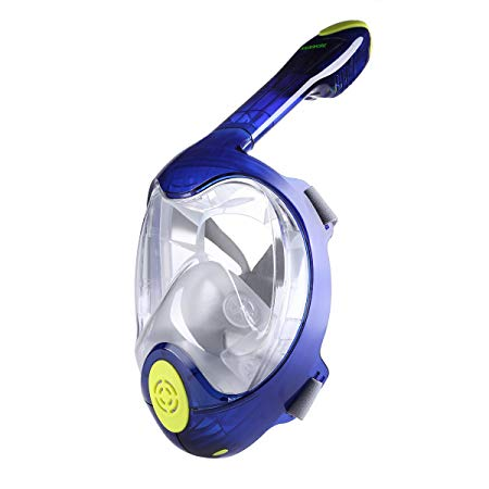 180° Snorkel Diving Mask, Kuokel Full Face Dry Top Snorkeling Scuba Water Sports with Panoramic View Dual-channel Anti-fog Anti-Leak for Clearer Water World, Best Christmas Holiday Gift