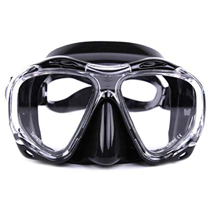 Whale Scuba Snorkeling 4 Lenses Dive Mask with Side View