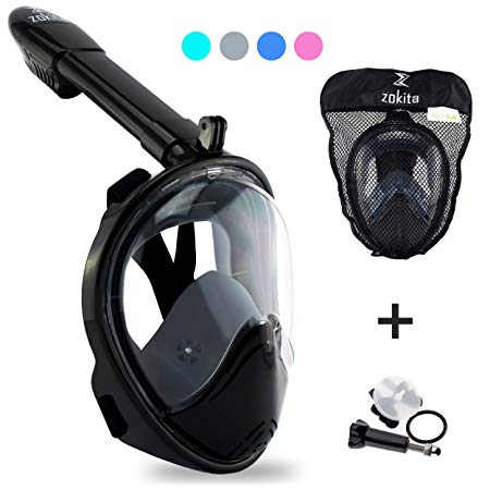 Zokita Full Face Snorkel Mask Adult & Kids Action Cam Compatible Panoramic One Piece Snorkeling Swimming Anti Fog Mask