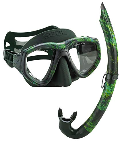 Seac One Camouflage Spearfishing Freediving Mask Snorkel Set