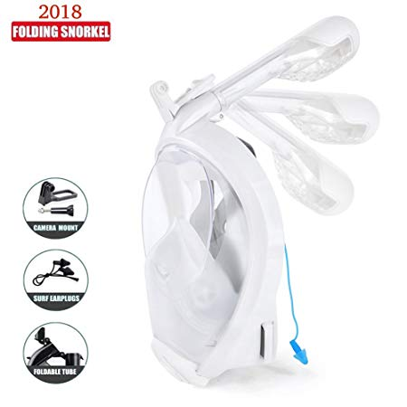Full Face Snorkel Mask - Easybreath Snorkeling Mask Surface Scuba Diving Goggles Swimming Kit - 180° View Anti Fog - Detachable Go Pro Mount - Most Durable Portable Dry Top Mask for Men Women Youth