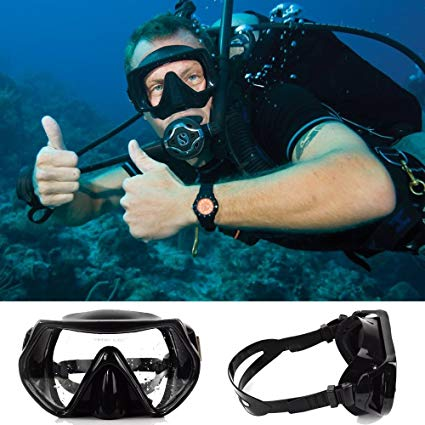 Eshion Scuba Swimming Diving Snorkeling Water Glass Goggles Tempered Lens Mask